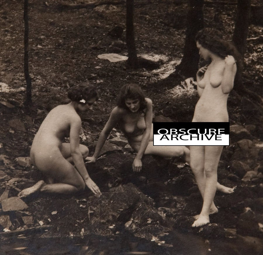 Three Nude Women In The Forest - Vintage 1890s Albumen Photograph - mature
