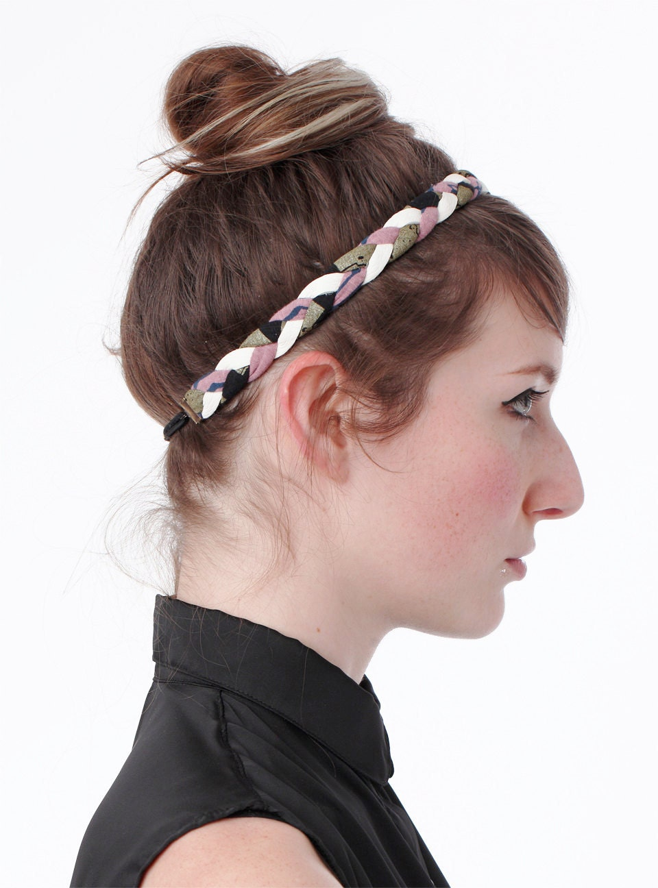 Braided Headband in Pink, Black, Gold and White