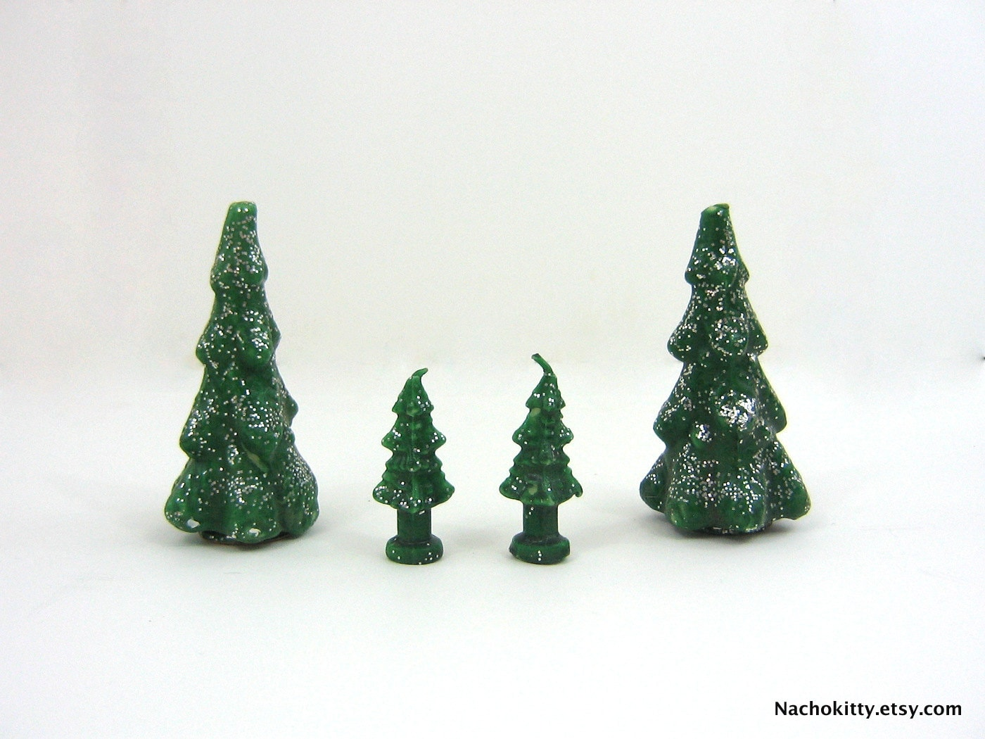 Gurley Christmas Tree Glitter Candle Set of 4 Vintage Candles - Nachokitty