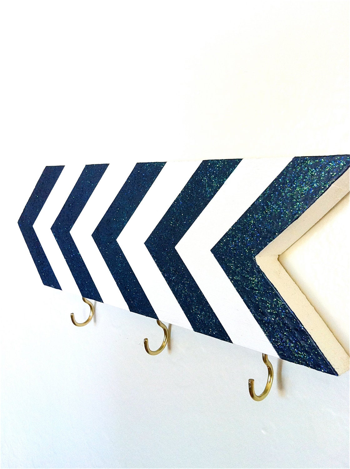 Wall hook - chevrons - navy blue sparkle glitter - entryway foyer - key holder - geometric - striped - patriotic nautical - oneeyeddog