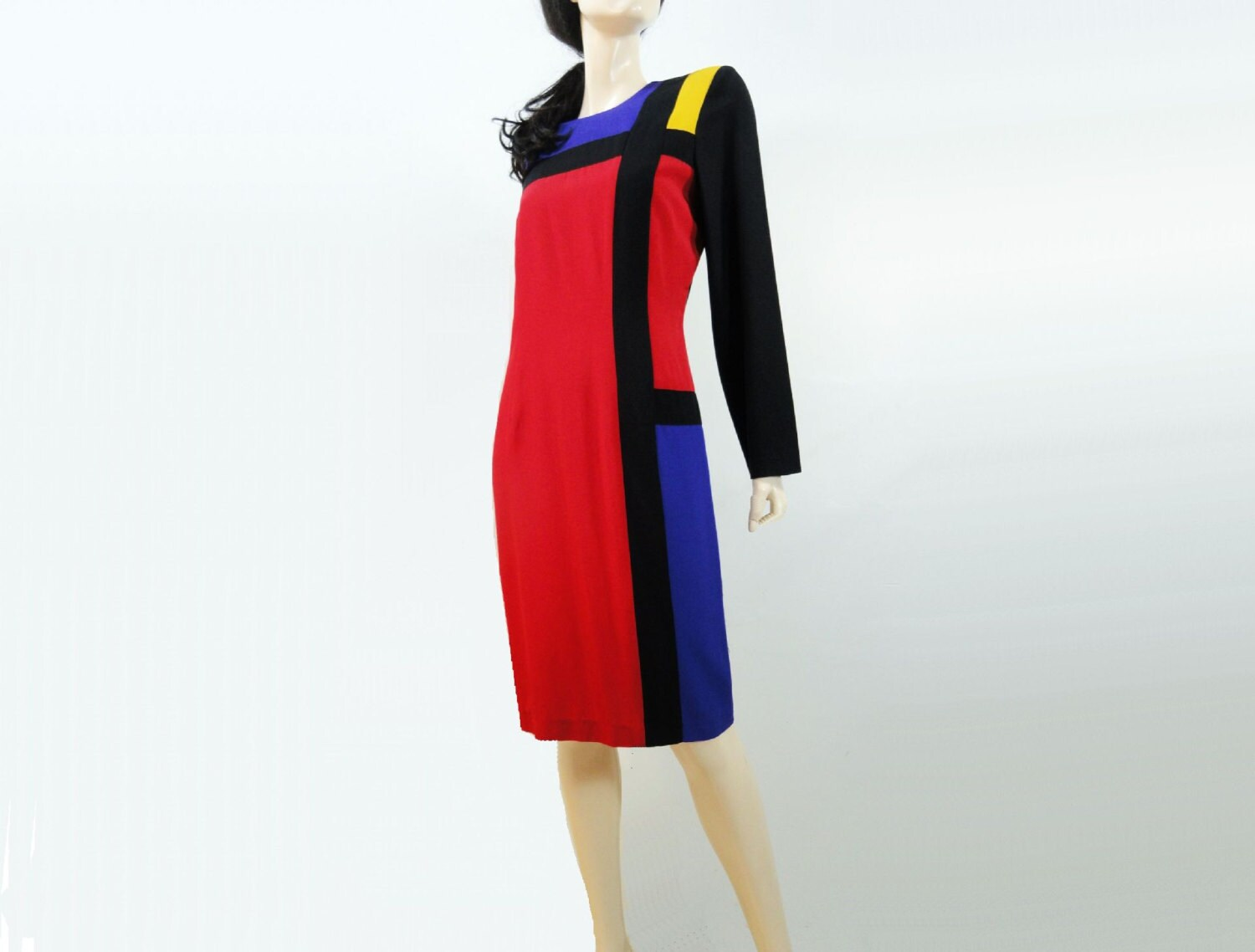 1980s Dress Color Block Mondrian Vintage 80s / 90s Dress L - StarletVintage