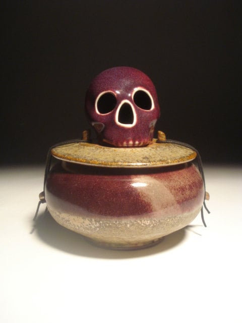 Purple Man Skull Urn