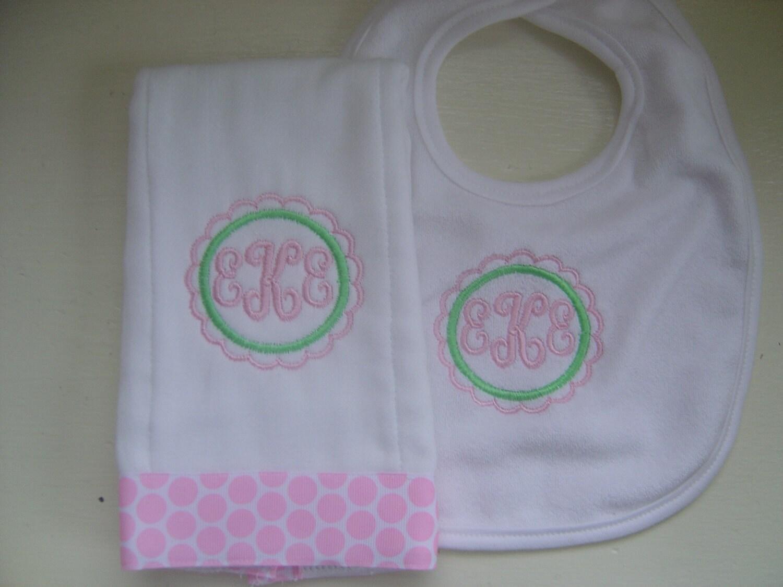 Initials Bib and Burp Cloth Set For A Girl