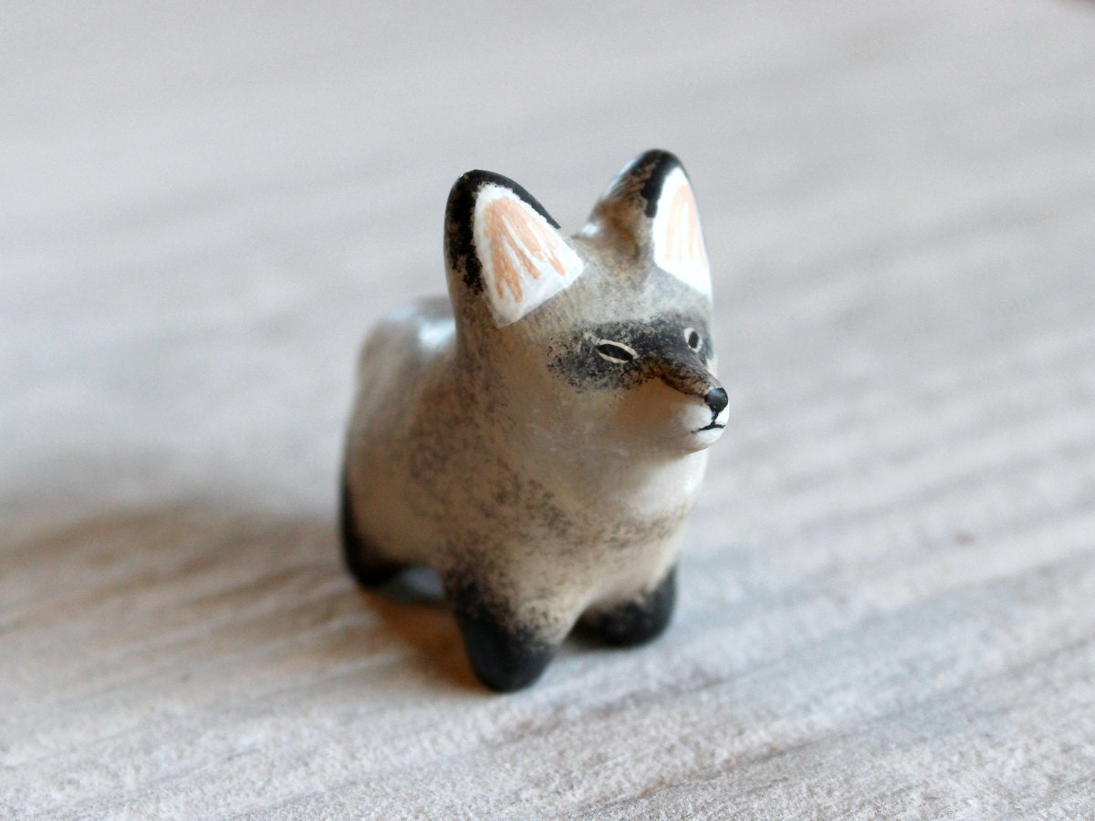 Bat-eared fox pocket totem figurine - HandyMaiden