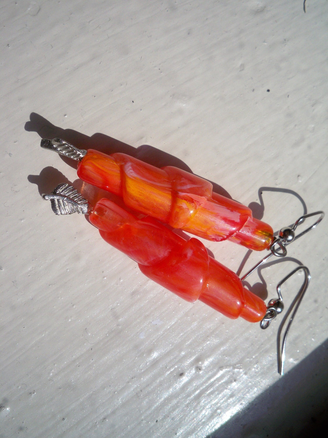 SALE: Vintage Orange Lucite Handrolled Beads - Fall Earring Series - eclecticnesting
