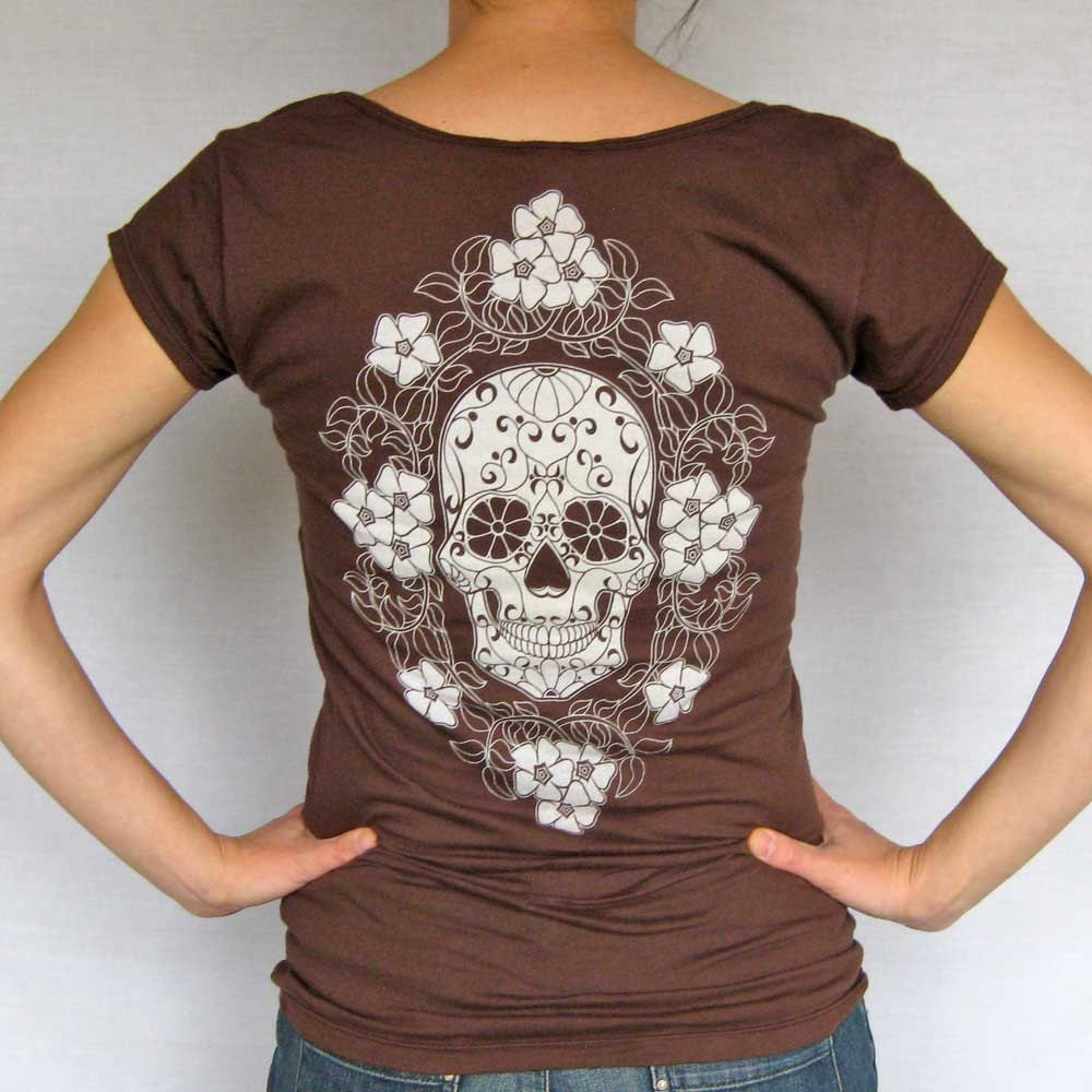 Calavera with Periwinkles womens t shirt - chocolate v neck tee - graphic - Med, Lrg, XL