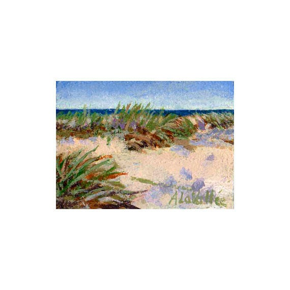 "Small Original acrylic Painting .Wind Swept Sand Dunes ,matted to fit 5"" X7"" frame , ACEO expressive , texture , Blue Green beige - MyMainePaintings"