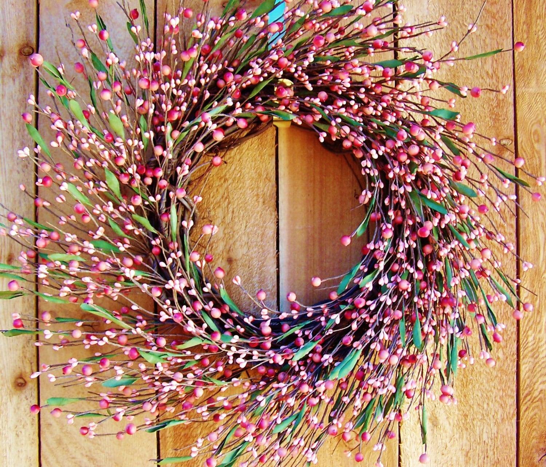 Spring Wreath-Spring Door Wreath-Easter Wreath-Front Door Wreath-PASTEL PINK Berry Wreath-Spring Door Decor-Spring Decor-Primitives Country - DesigningCreations