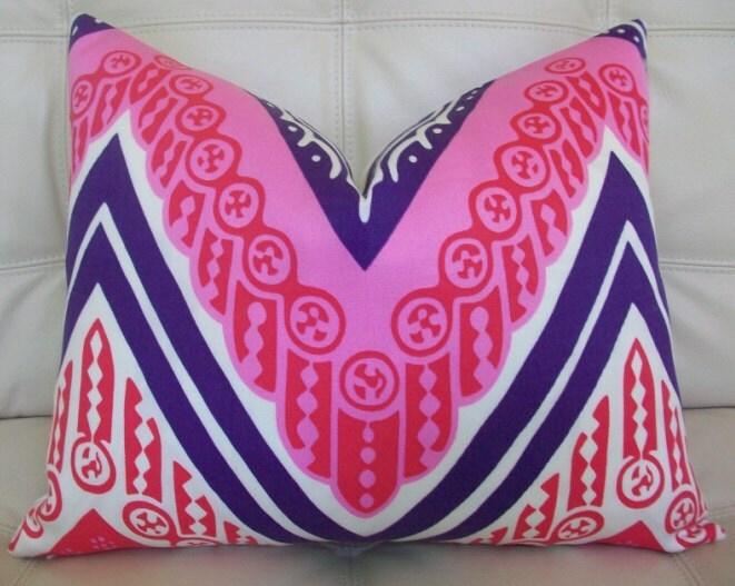 Decorative Designer Lumbar Pillow Cover - 16X20 - Trina Turk for Schumacher - Tangier Frame Print in Cerise