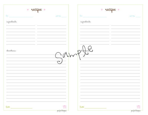 pictures of binder size recipe template