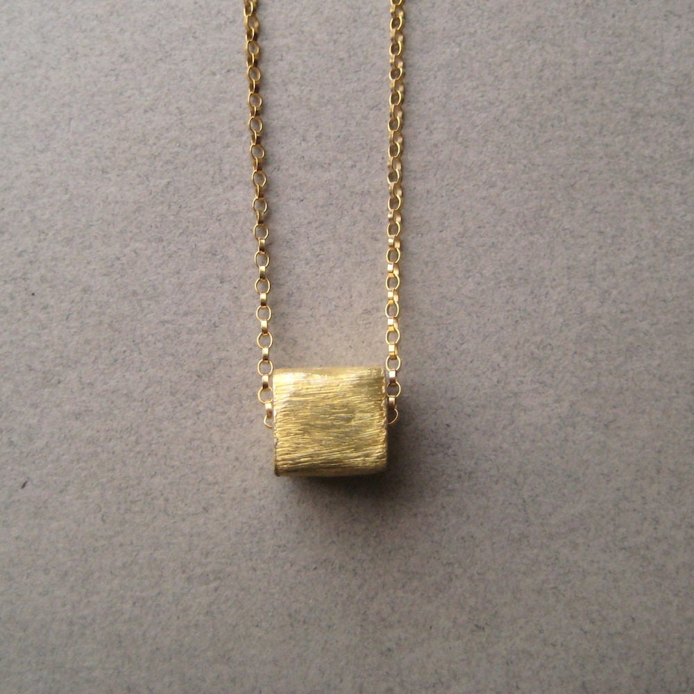 Vermeil Cube Necklace, Minimal Jewelry, Gold Fill Chain Necklace, Gold Vermeil Square, Modern Jewelry - juliegarland