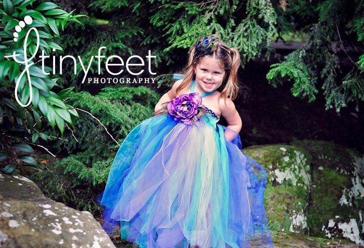 Flower Girl Dress, Peacock Tutu Dress, Outfit of Choice, Blue Tutu Dress, Purple Tutu Dress, Peacock Feathers, 3T, 4T, 5T