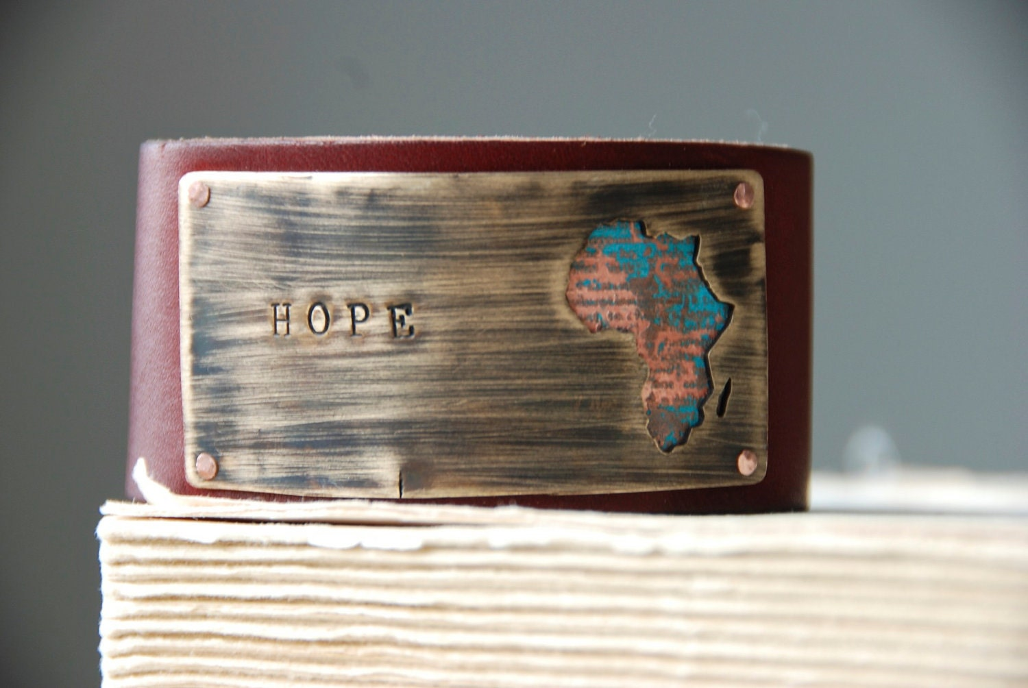 Hope Bracelet Tribal Africa Etched And Patina Cuff Earth Day