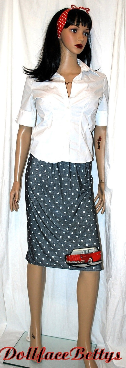MATERNITY ......Rockabilly Hot Rod Polka Dot Pencil Skirt ....Size S/ M