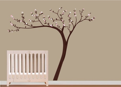 Kids Vinyl Wall Decal Cherry Blossom Vinyl Wall Art Tree Decal - Nursery