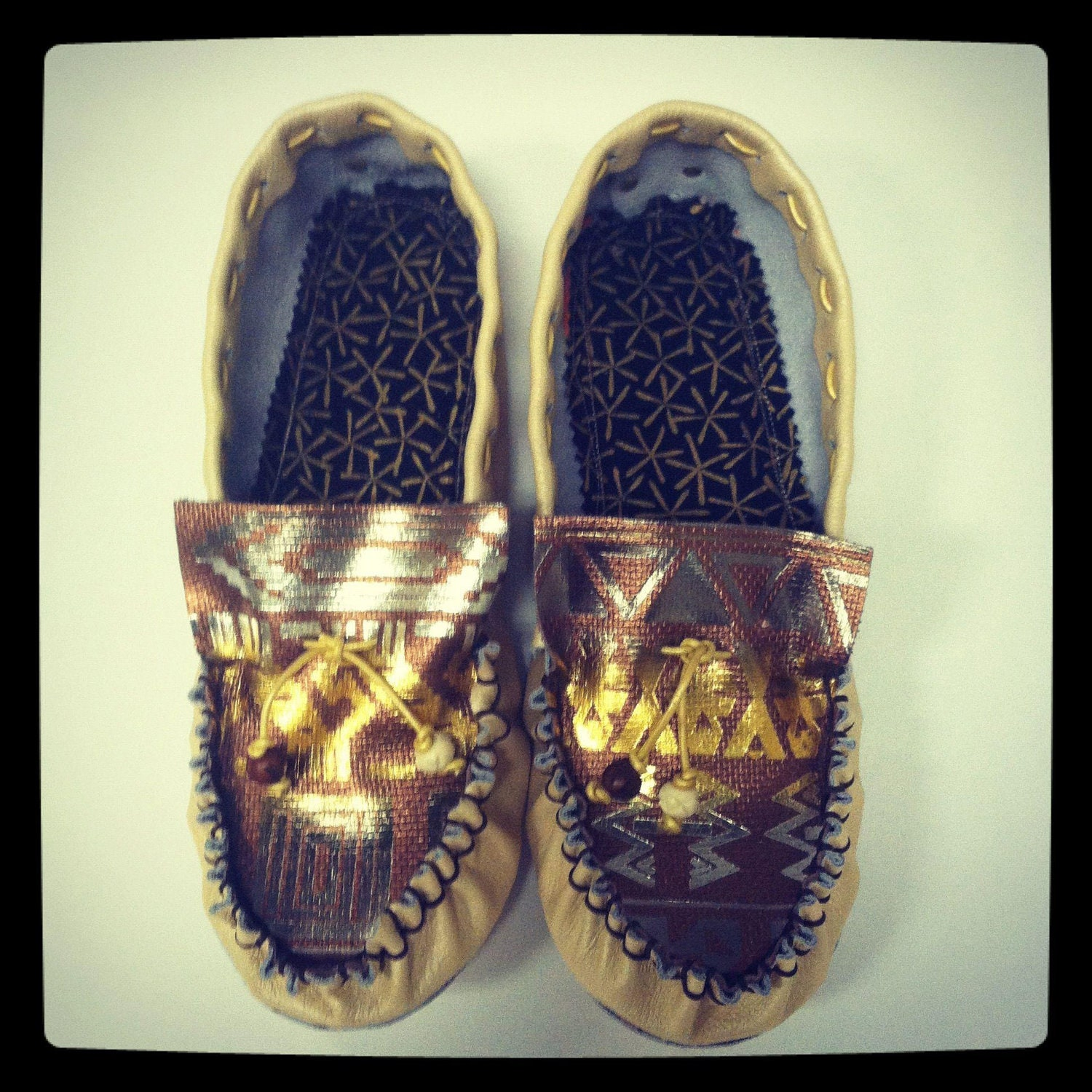 dawn people traditional driving moccasin with a 2012 twist - metallic aztec