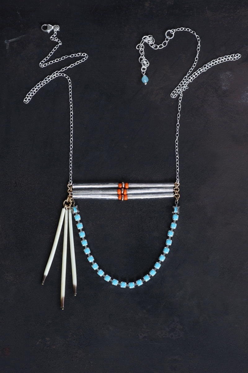 Cheyenne I - Porcupine Quill and Turquoise Rhinestone Urban Pioneer Necklace by Prairieoats