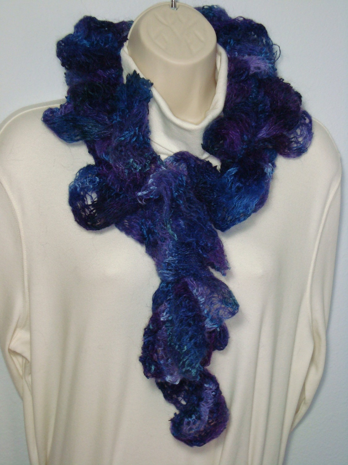 Hand Knitted - Ruffle Mohair Scarf - Blue - Purple - Violet