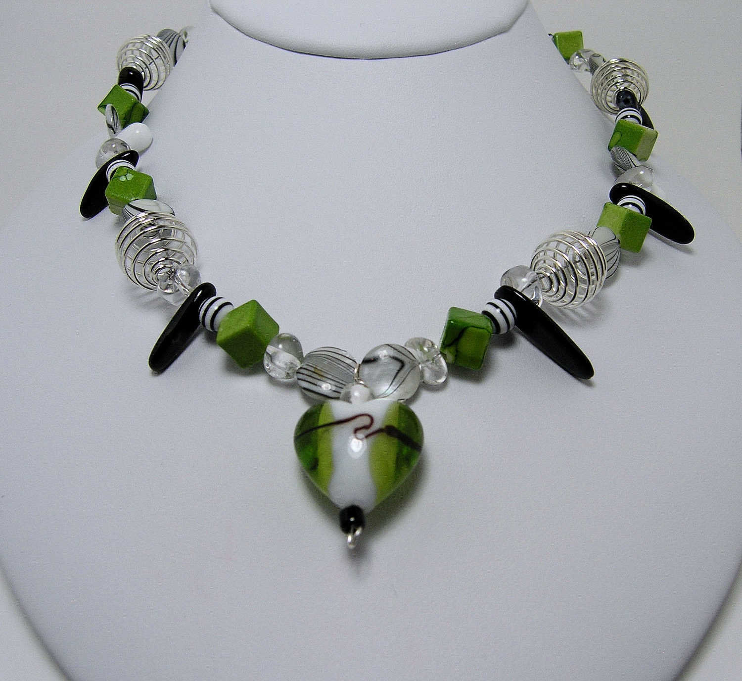 Green Apple Heart necklace with handblown green heart pendant, acrylic cube beads, sterling spirals