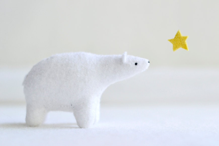 polar bear - felt plush soft sculpture animal - MountRoyalMint