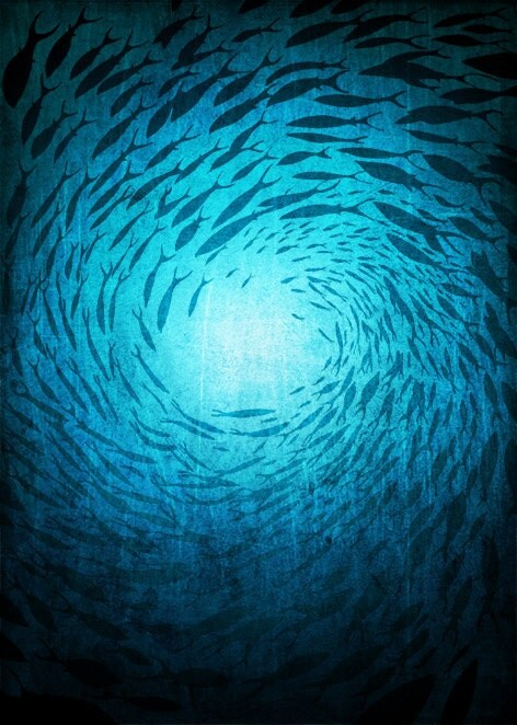 Mysteries of the Deep - 10x14 Art illustration - Turquoise art print  - Love decor - Love, turquoise, blue, sea, water, ocean - tubidu