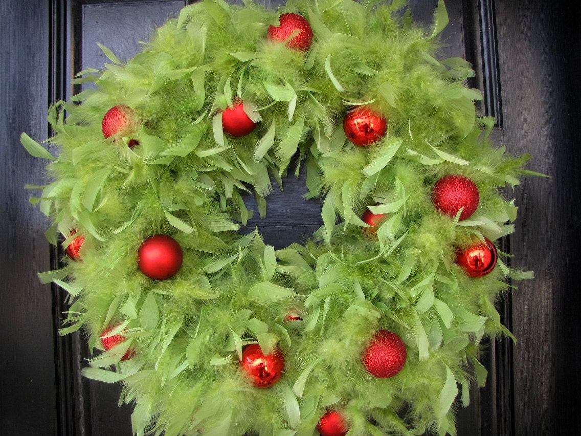 Christmas Wreath - Lime Green Feather Wreath with Red Ornaments