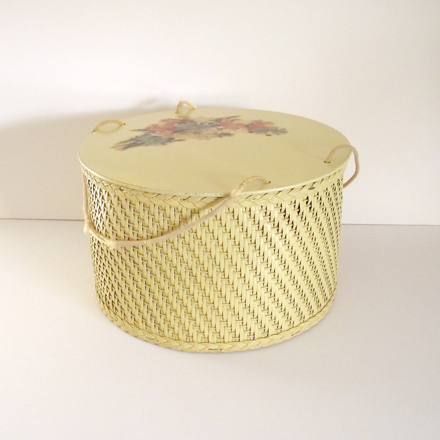 Vintage Wicker and Wood Sewing Box or Basket