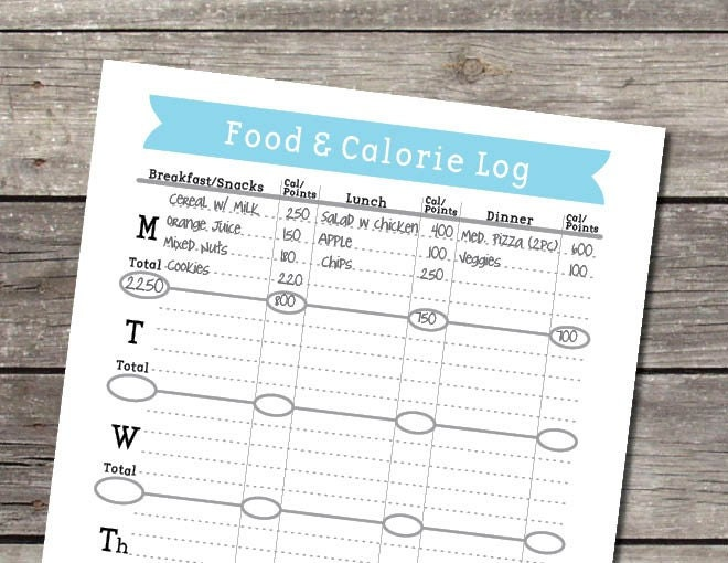 printable food calorie log