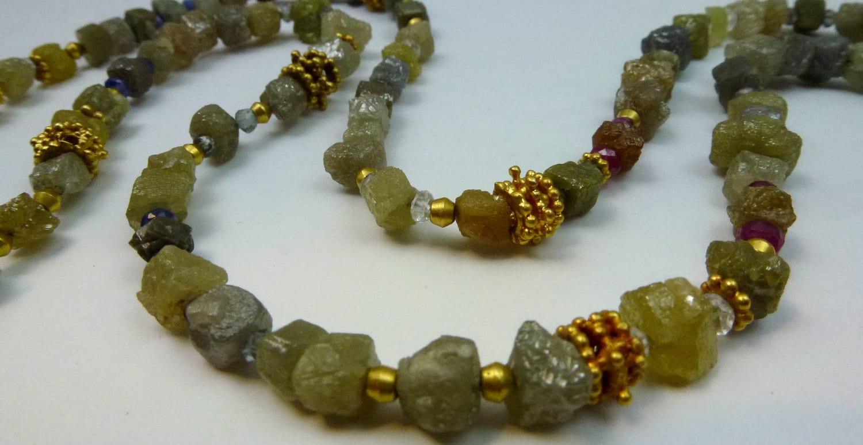 Handmade Raw Diamonds, Sapphires, Rubies, White Topaz, 18k Gold PERSEPHONE Beaded Gems Necklace