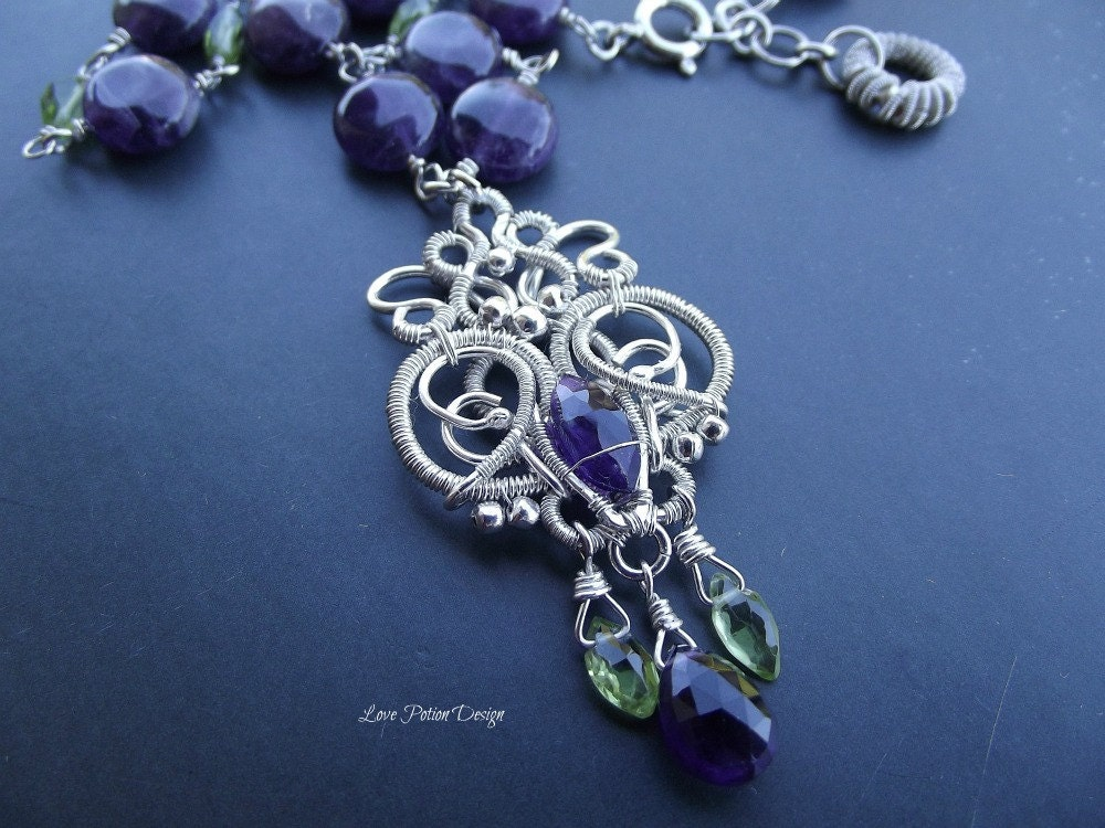 Sterling Silver Wire Wrapped Necklace With Amethyst And Peridot. - LovePotionDesign