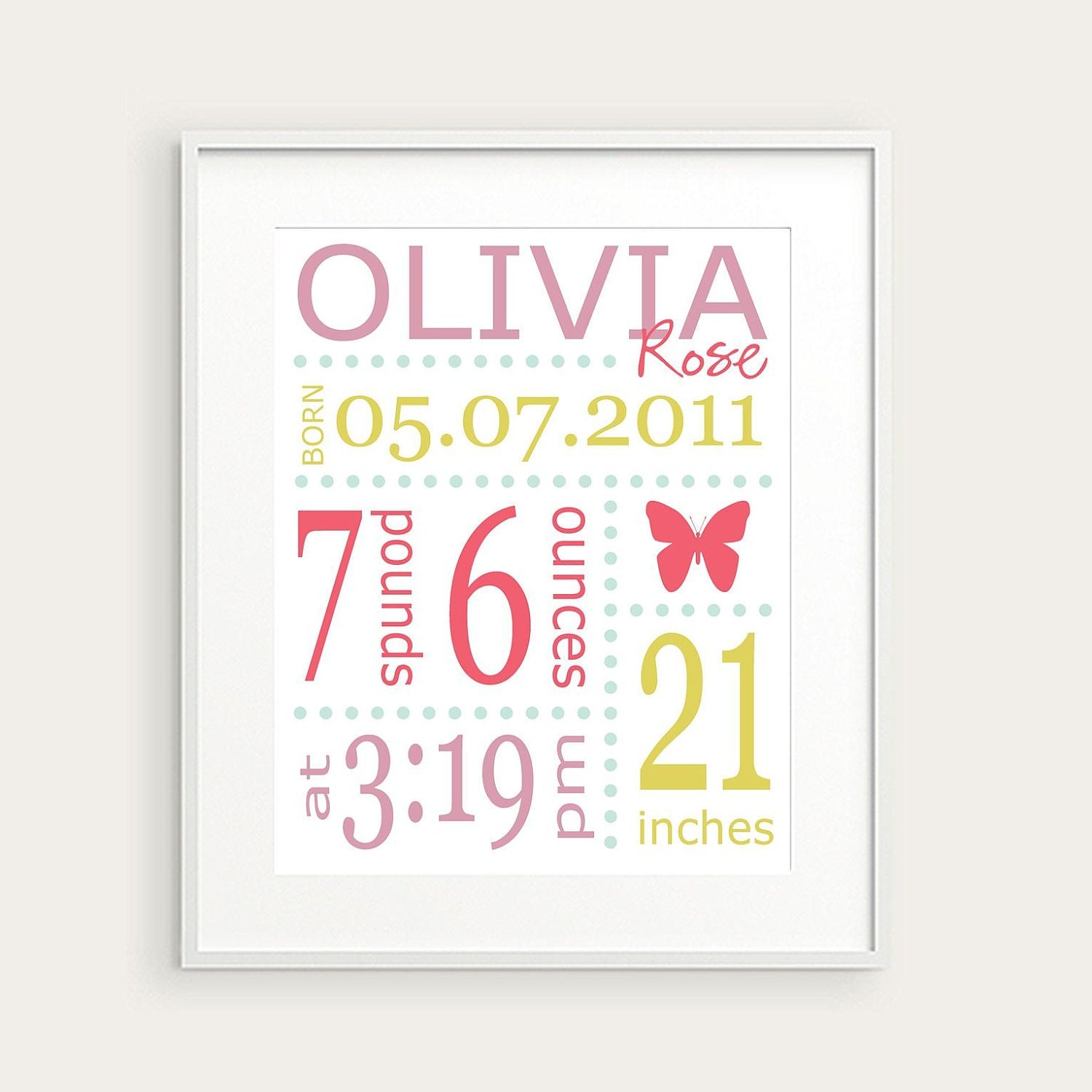 Engravable Baby Picture Frames on Personalized Girl S Nursery Bir Th Print  Butterfly  Pink Green