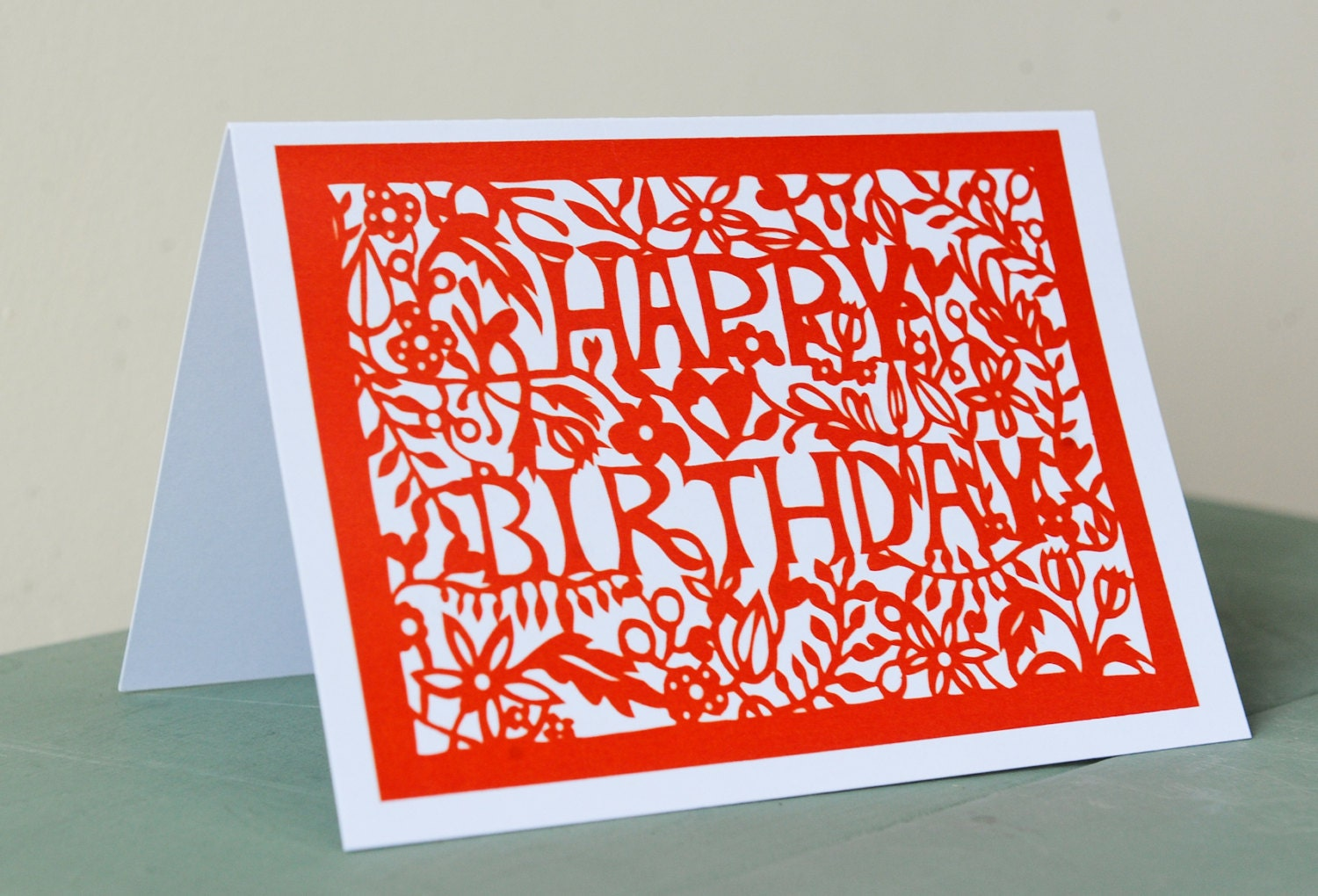 Happy Birthday greetings card, printed from an original papercut design made by me at Seren Papercuts.