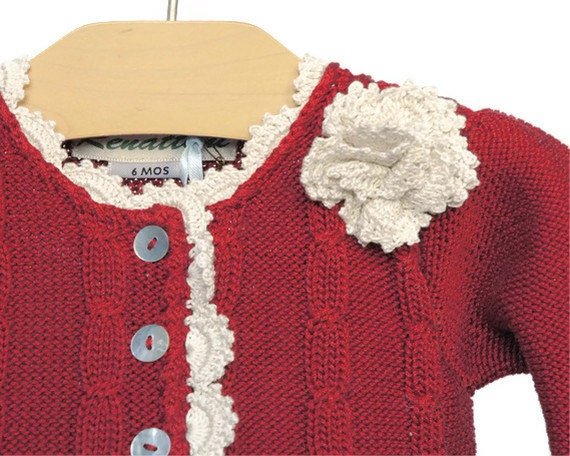 Cranberry red baby girl Kim cardigan