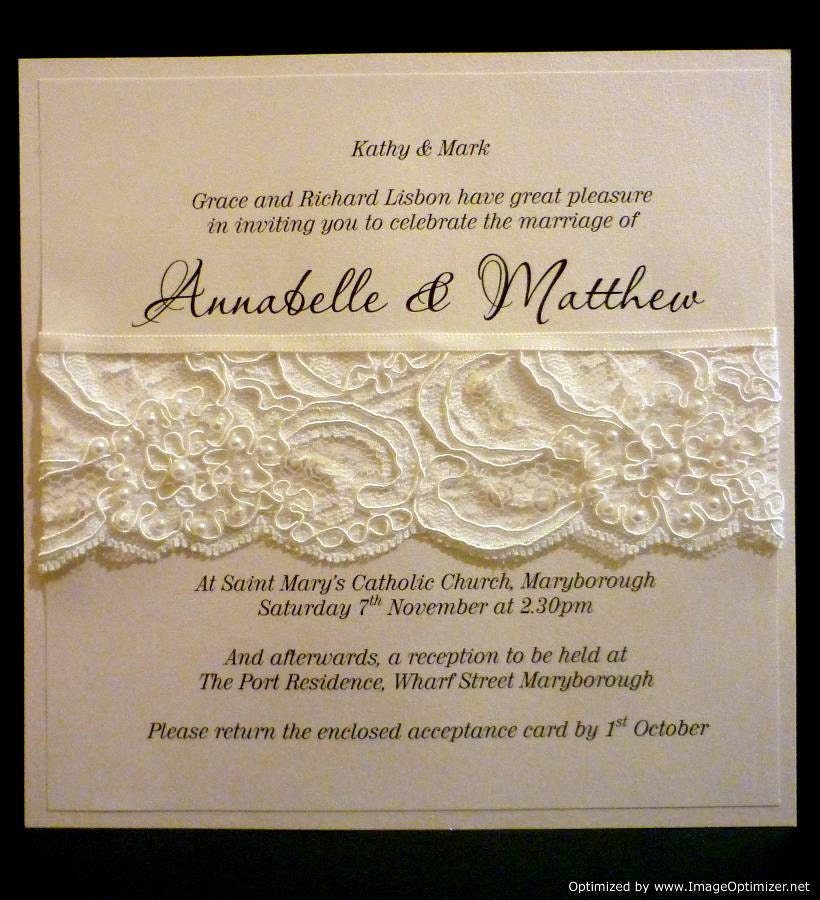French Lace Pearls Wedding Invitation SAMPLE From StunningStationery