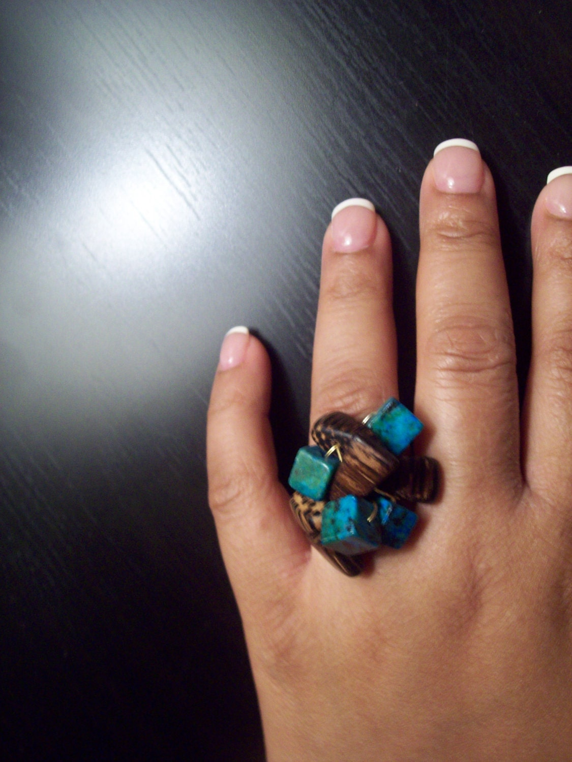 SALE Gold Cluster Ring w/wood and square turquoise beads