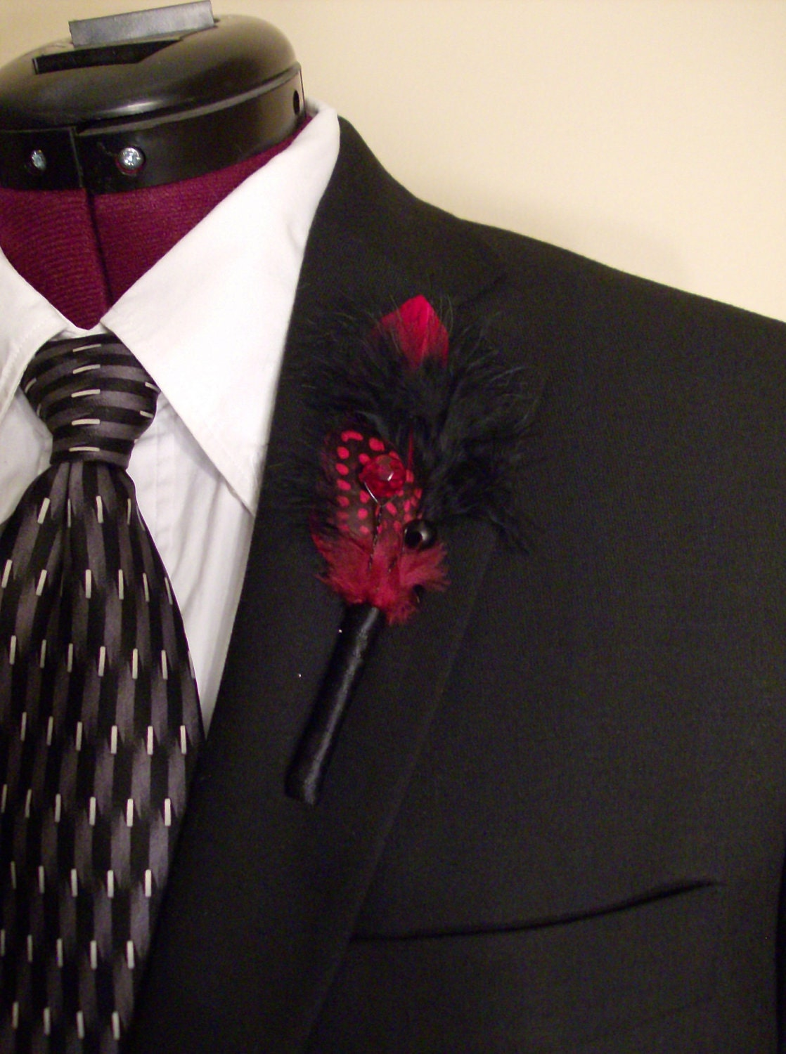 Red/Black Feather Boutonniere