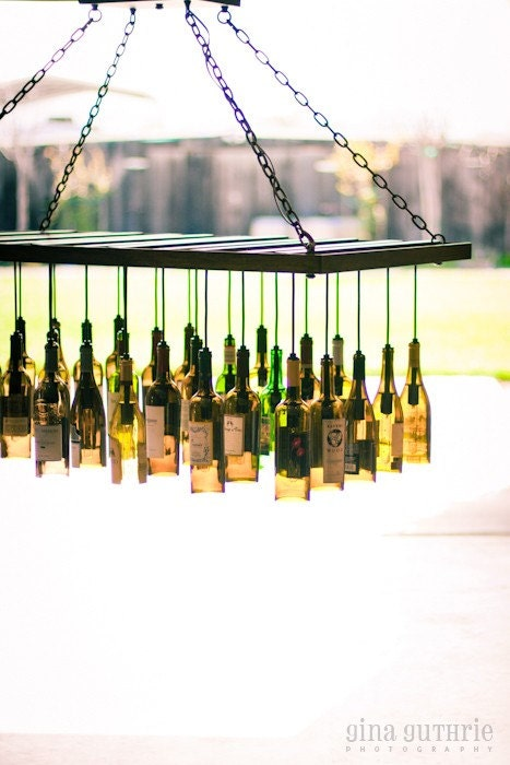 Wine Bottle Chandelier (wood)