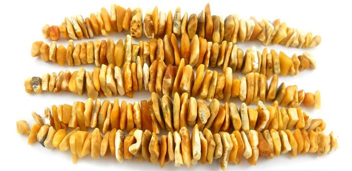 Natural Baltic Amber beads -  lot pcs freeform raw  bead - milky -  honey  - 6 inches