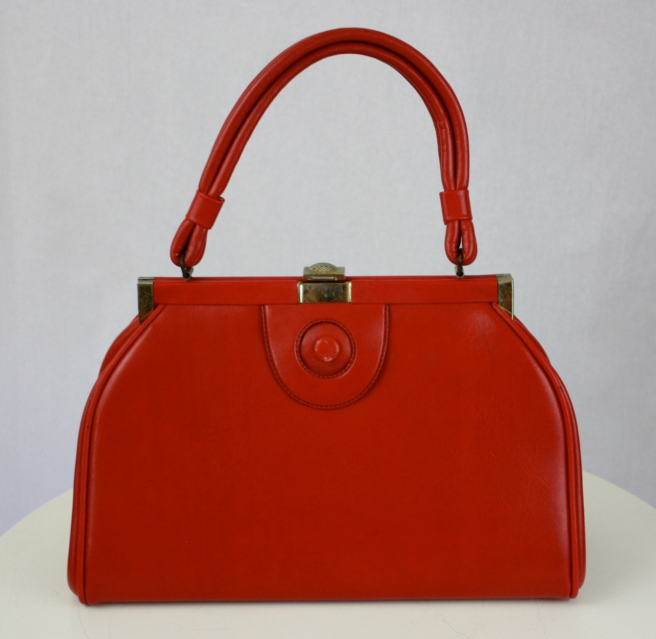 Vintage 1960s Red Purse Handbag Faux Leather w Brass Clasp - foreveracharm