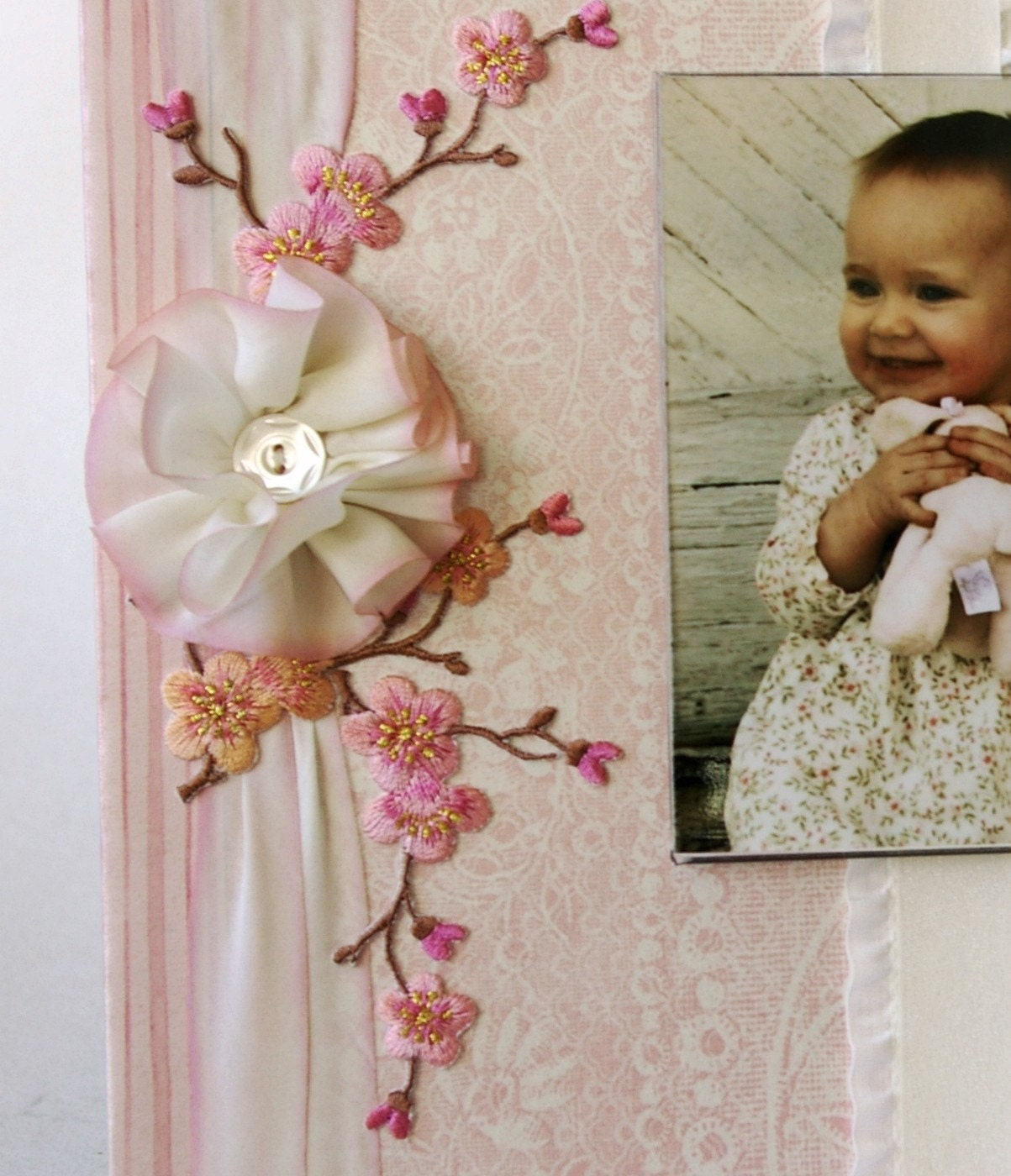 Photo Frame, Baby Girl, розового и кремового, Cherry Blossom,