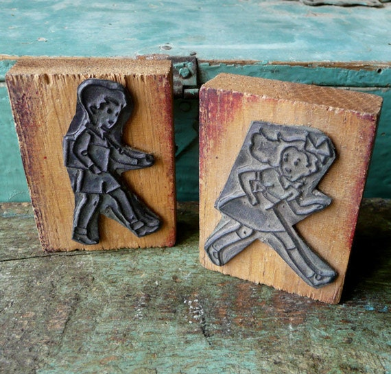 French Vintage Rubber Stamps Walking Girl and Boy - onemansjunque