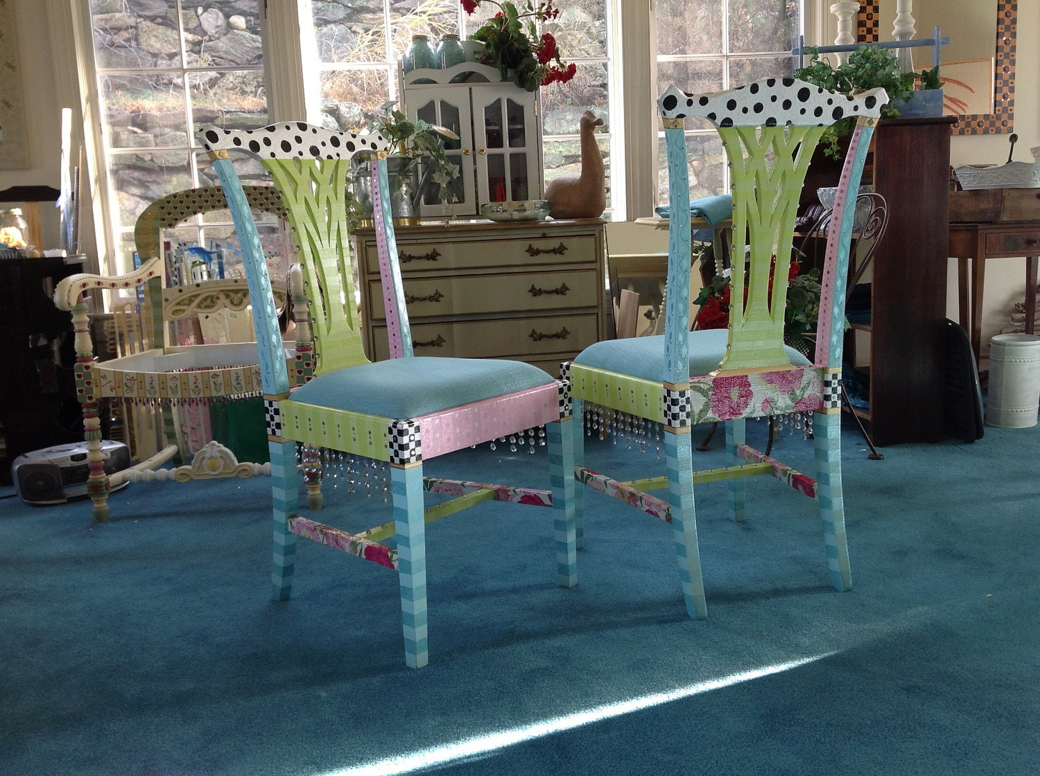 whimsical hand painted chairs reserved custom order for
