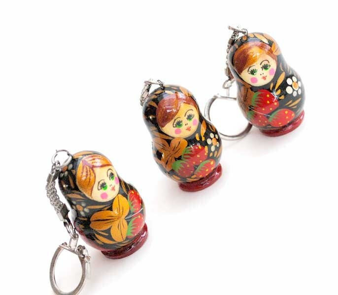 key chain  Russian Wooden ecofrendly Doll - red Matreshka matryoshka babushka keychain