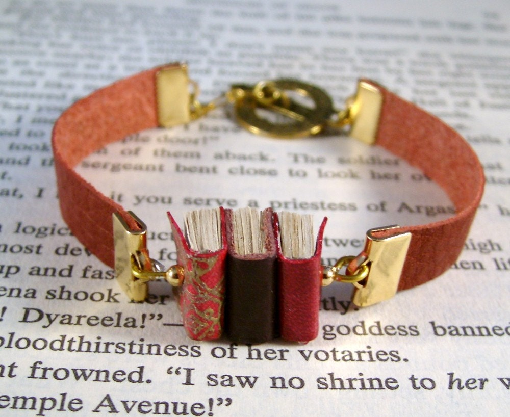 Miniature Book Bracelet Stack of 3 Mini Books and Leather Bracelet