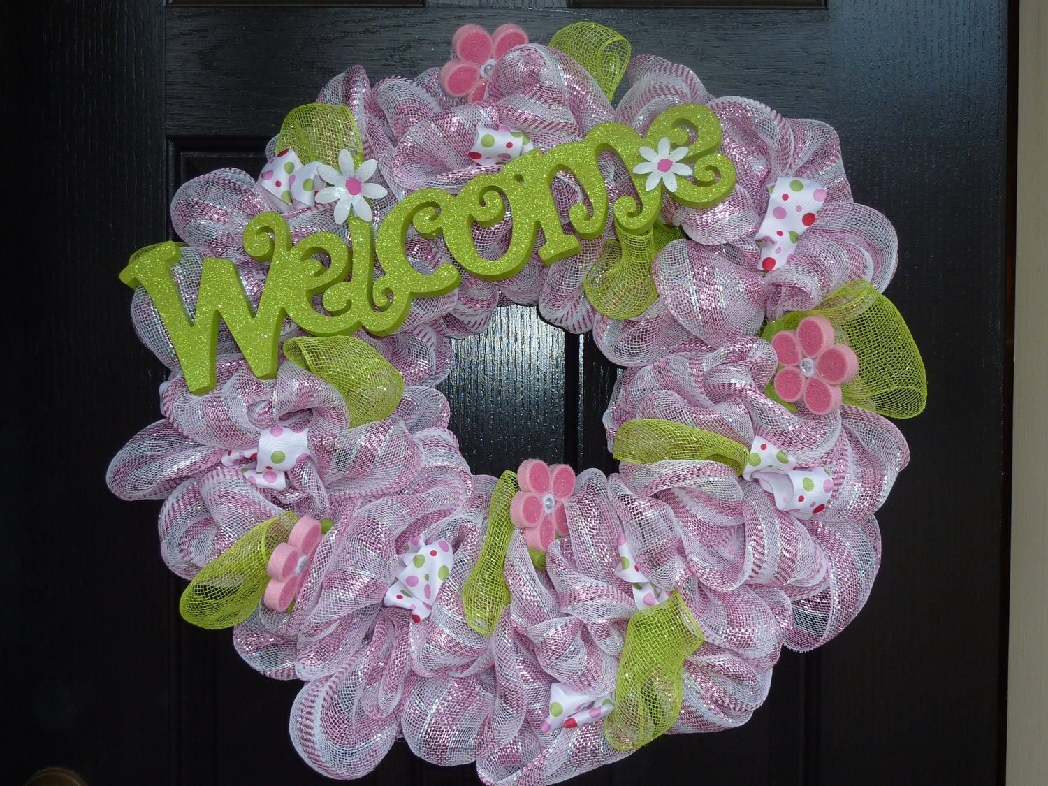 Welcome Spring Deco Mesh Wreath