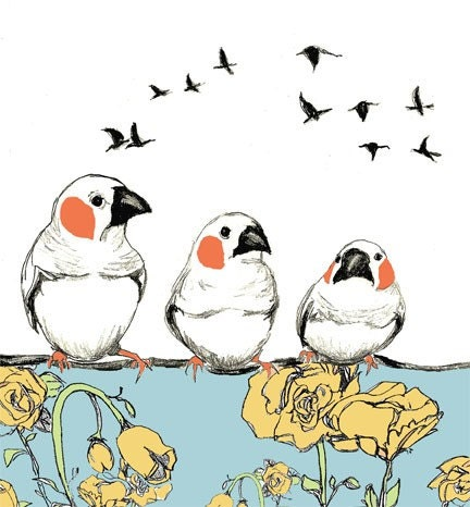 Birdie Talk - Bird Art Print