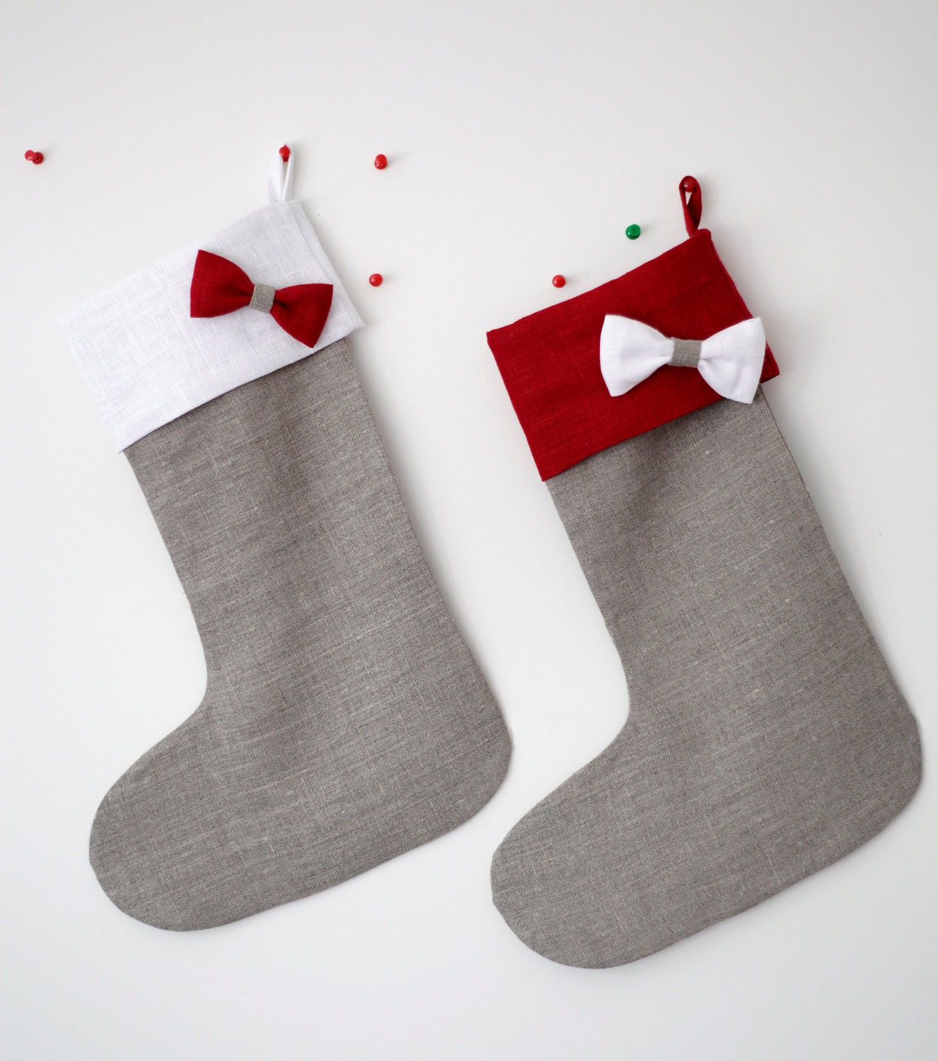 Christmas stocking - 2 linen stocking - gift idea for kids - grey with red and white top - pillowlink