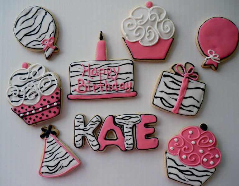 Hot Pink and Black and White Zebra Birthday Cookies Party Hat Cupcake Gift Balloon Personalized