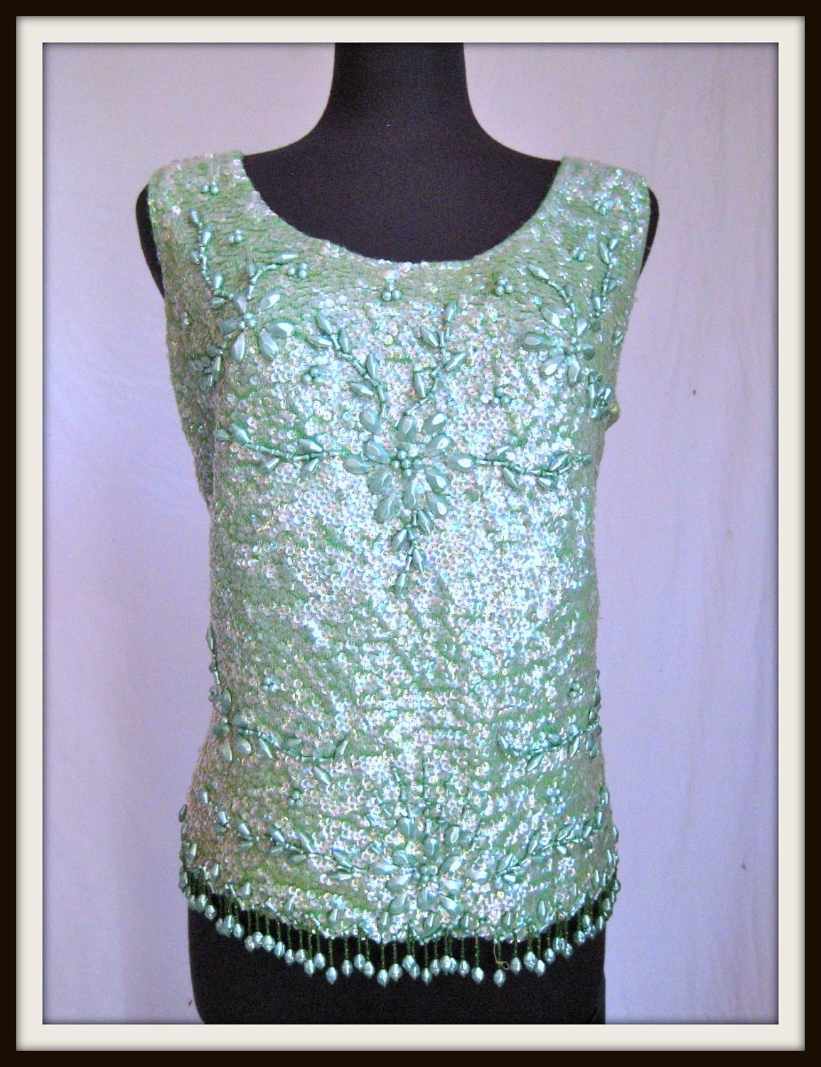 Vintage Pastel Green Beaded Sleeveless Top Circa 1960s