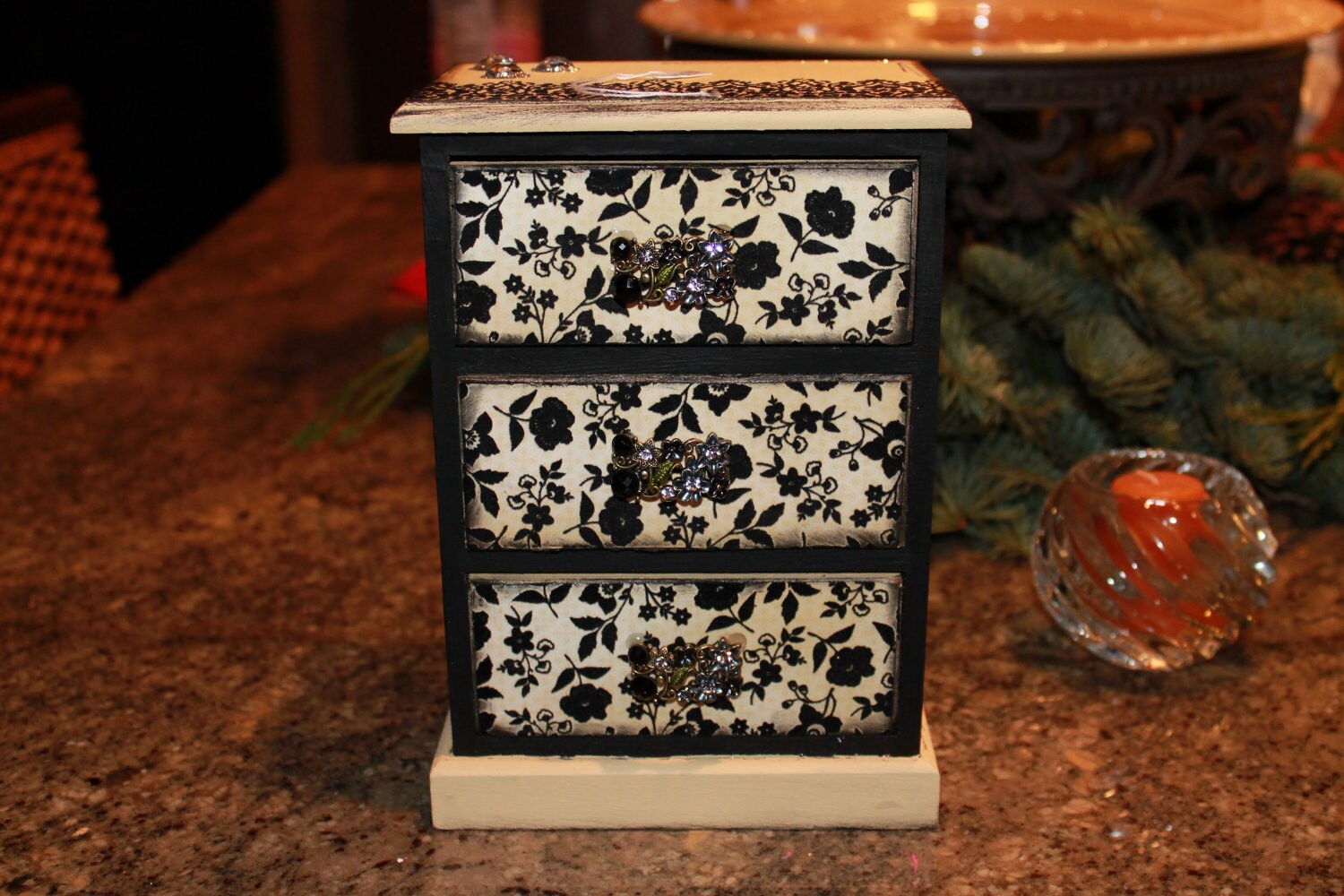 Elegant Jewelry Box, Stash Box, Trinket Box, Cream and Black